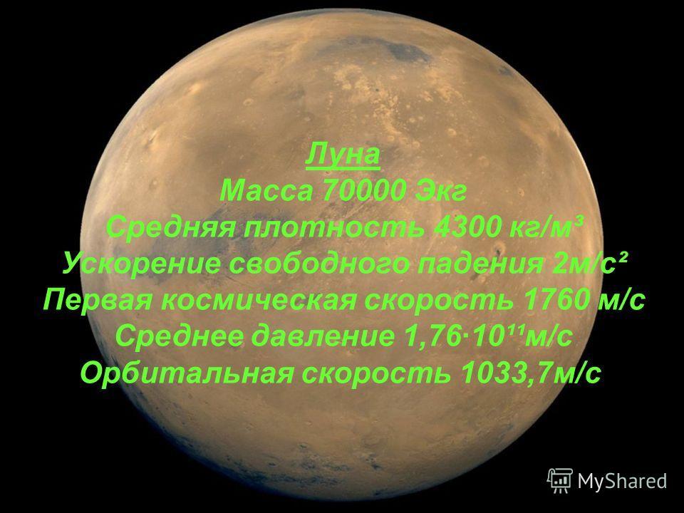 Луна Масса 70000 Экг Средняя плотность 4300 кг/м³ Ускорение свободного падения 2м/с² Первая космическая скорость 1760 м/с Среднее давление 1,76·10¹¹м/с Орбитальная скорость 1033,7м/с