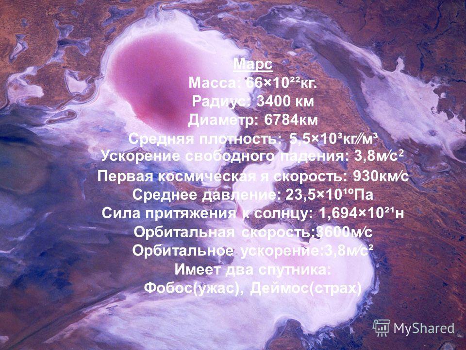 Марс Масса: 66×10²²кг. Радиус: 3400 км Диаметр: 6784км Средняя плотность: 5,5×10³кгм³ Ускорение свободного падения: 3,8мс ² Первая космическая я скорость: 930кмс Среднее давление: 23,5×10¹ºПа Сила притяжения к солнцу: 1,694×10²¹н Орбитальная скорость