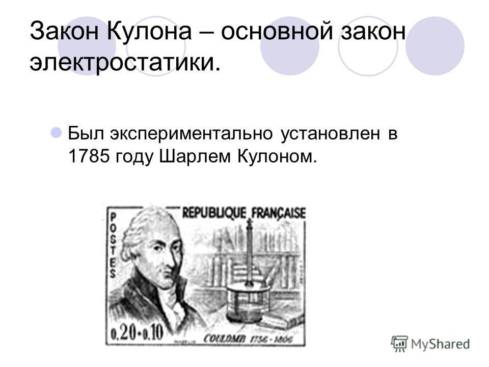 Закон Кулона – основной закон электростатики. Был экспериментально установлен в 1785 году Шарлем Кулоном.