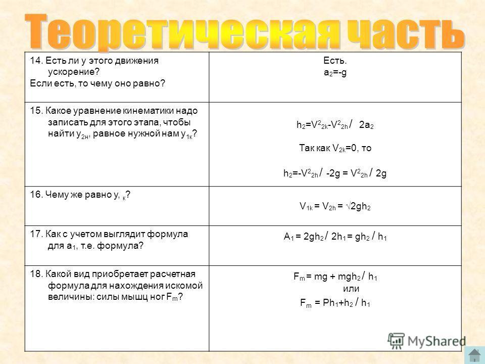 14. Есть ли у этого движения ускорение? Если есть, то чему оно равно? Есть. a 2 =-g 15. Какое уравнение кинематики надо записать для этого этапа, чтобы найти у 2н, равное нужной нам у 1к ? h 2 =V 2 2k -V 2 2h / 2a 2 Так как V 2k =0, то h 2 =-V 2 2h /
