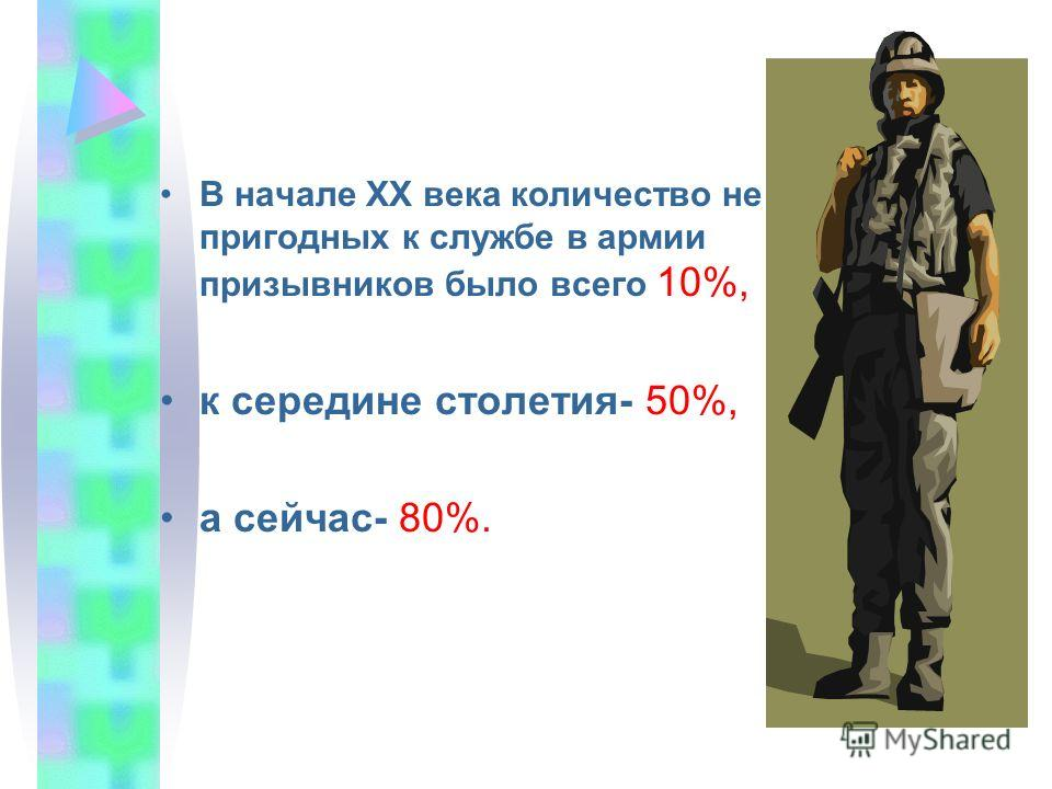 В начале ХХ века количество не пригодных к службе в армии призывников было всего 10%, к середине столетия- 50%, а сейчас- 80%.