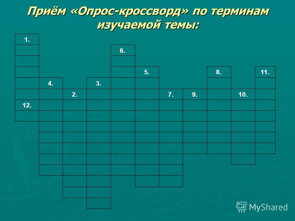 Приём «Опрос-кроссворд» по терминам изучаемой темы: 1. 6. 5.8.11. 4.3. 2.7.9.10. 12.
