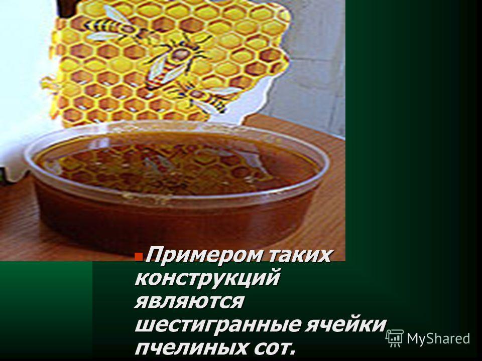 Примером таких конструкций являются шестигранные ячейки пчелиных сот. Примером таких конструкций являются шестигранные ячейки пчелиных сот.