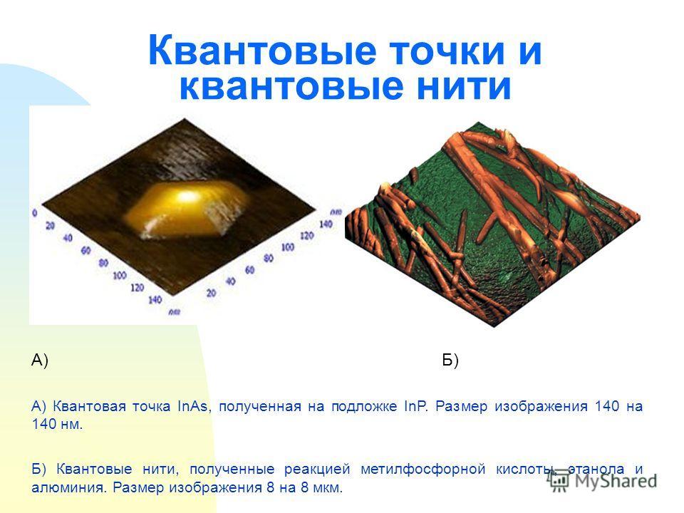 Квантовые точки и квантовые нити А)Б) А) Квантовая точка InAs, полученная на подложке InP. Размер изображения 140 на 140 нм. Б) Квантовые нити, полученные реакцией метилфосфорной кислоты, этанола и алюминия. Размер изображения 8 на 8 мкм.