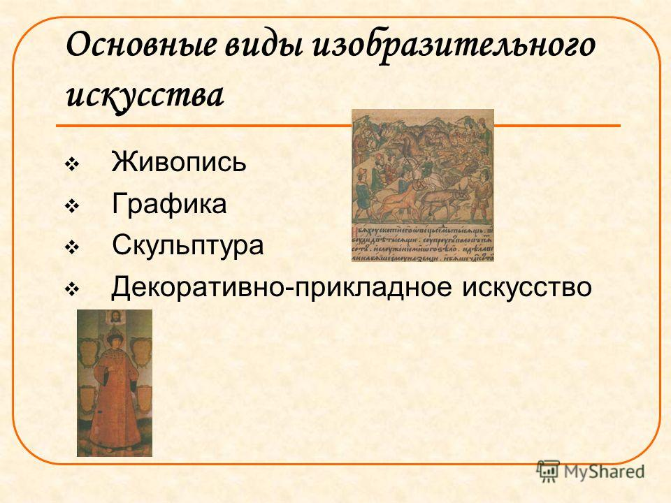 Основные виды изобразительного искусства Живопись Графика Скульптура Декоративно-прикладное искусство