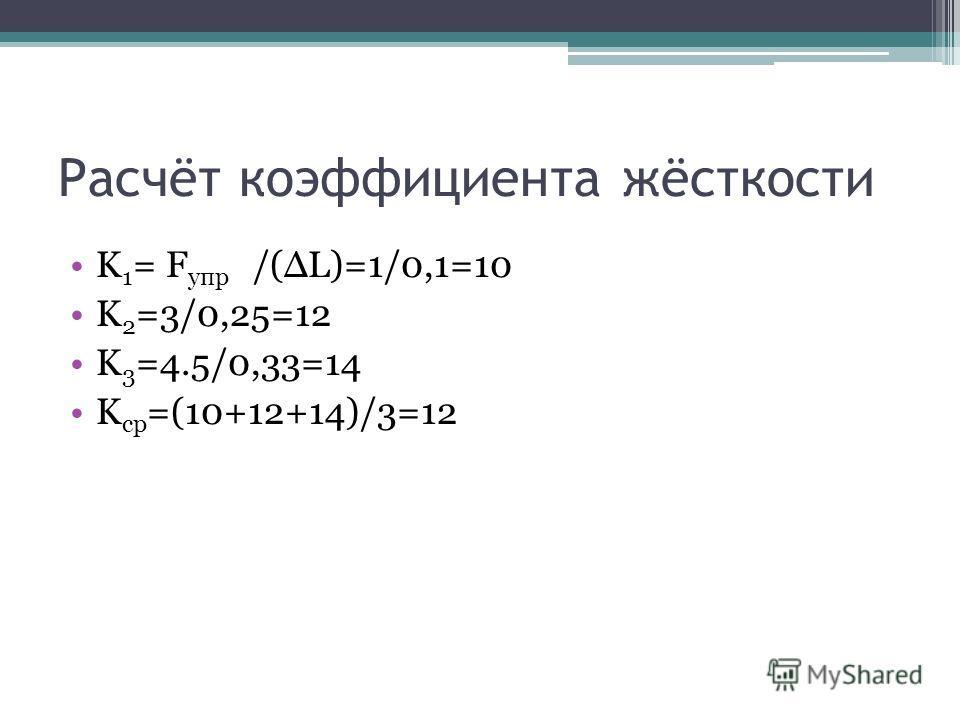 Расчёт коэффициента жёсткости K 1 = F упр /(ΔL)=1/0,1=10 K 2 =3/0,25=12 K 3 =4.5/0,33=14 K ср =(10+12+14)/3=12