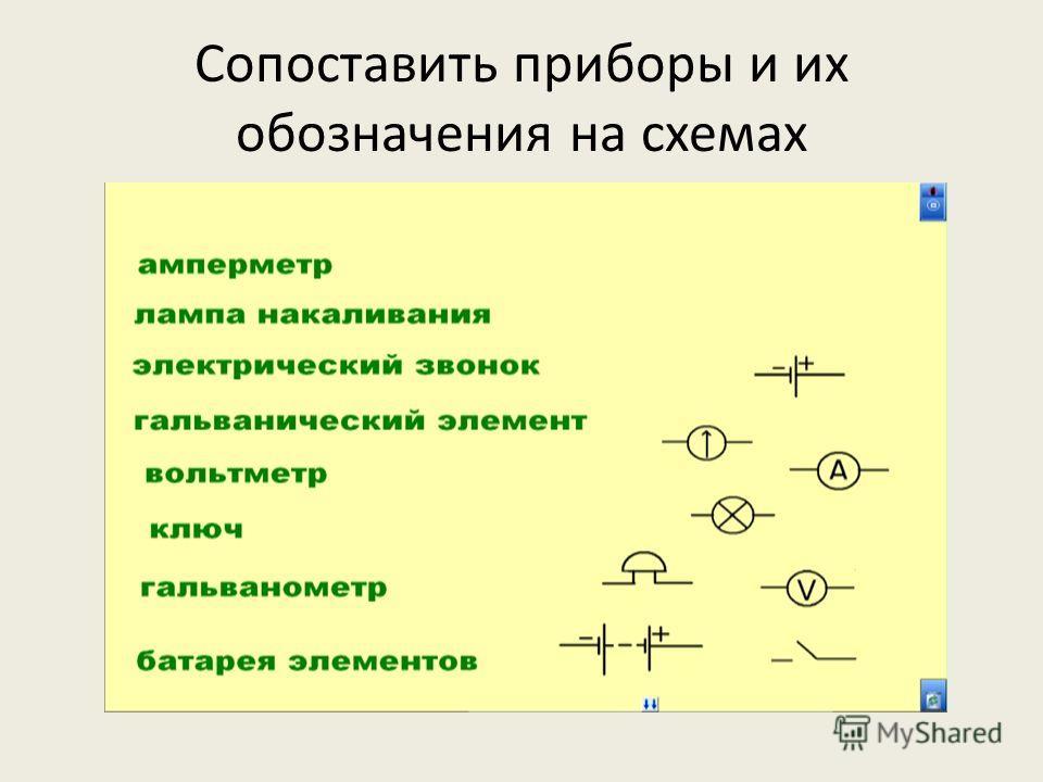 Сопоставить приборы и их обозначения на схемах