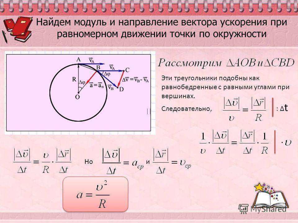 Найдем модуль и направление вектора ускорения при равномерном движении точки по окружности Эти треугольники подобны как равнобедренные с равными углами при вершинах. Следовательно, : t Но и