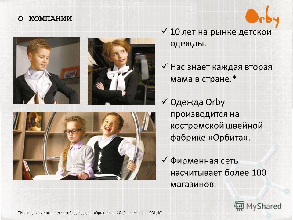 *Исследование рынка детской одежды, октябрь-ноябрь 2012г., компания