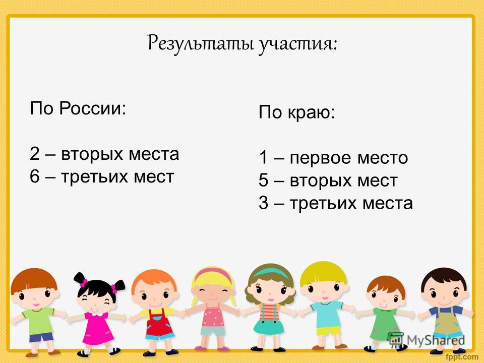 Результаты участия: По России: 2 – вторых места 6 – третьих мест По краю: 1 – первое место 5 – вторых мест 3 – третьих места