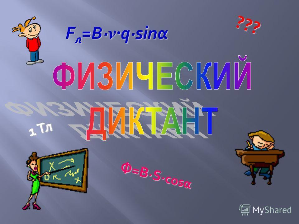 1 Тл Ф=ВS cosα F л =B v qsinα ???