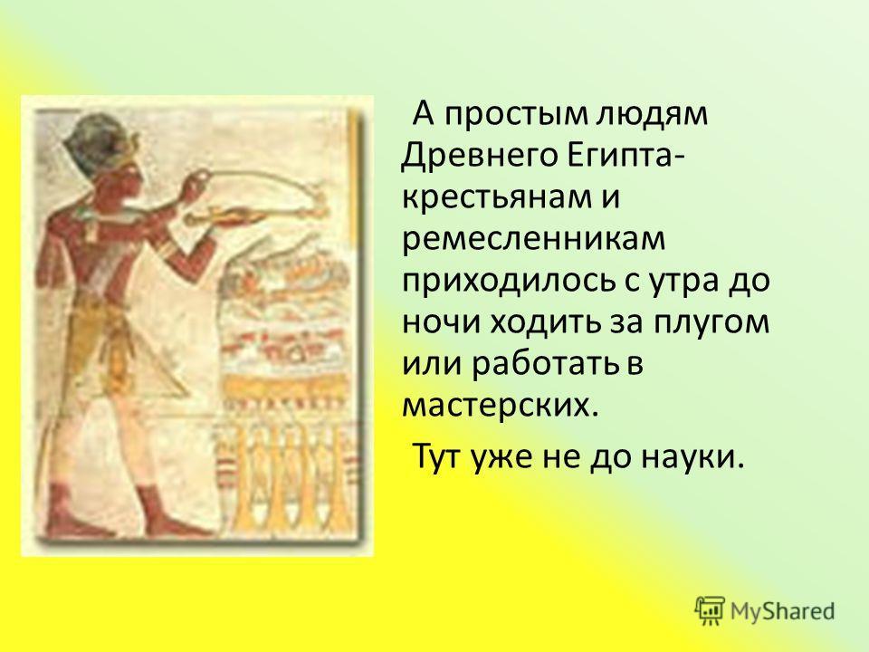 А простым людям Древнего Египта- крестьянам и ремесленникам приходилось с утра до ночи ходить за плугом или работать в мастерских. Тут уже не до науки.