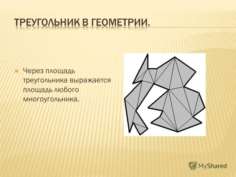 Через площадь треугольника выражается площадь любого многоугольника.