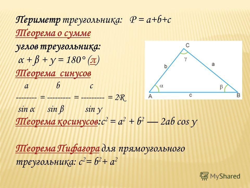 Периметр треугольника: Р = a+b+c Теорема о сумме углов треугольника: α + β + γ = 180° (π)π Теорема синусов a b c -------- = --------- = --------- = 2R sin α sin β sin γ Теорема косинусовТеорема косинусов:c 2 = a 2 + b 2 2ab cos γ Теорема Пифагора для