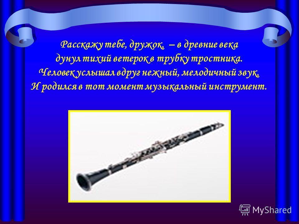 Расскажу тебе, дружок, – в древние века дунул тихий ветерок в трубку тростника. Человек услышал вдруг нежный, мелодичный звук, И родился в тот момент музыкальный инструмент.