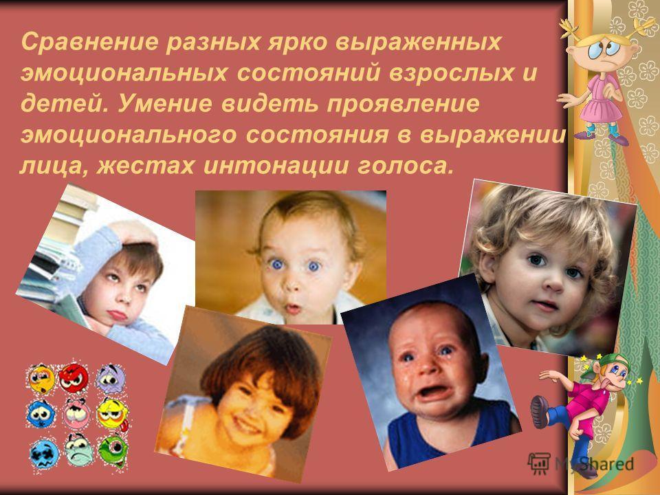 Сравнение разных ярко выраженных эмоциональных состояний взрослых и детей. Умение видеть проявление эмоционального состояния в выражении лица, жестах интонации голоса.