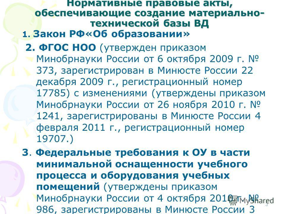 Нормативные правовые акты, обеспечивающие создание материально- технической базы ВД 1. Закон РФ«Об образовании» 2. ФГОС НОО (утвержден приказом Минобрнауки России от 6 октября 2009 г. 373, зарегистрирован в Минюсте России 22 декабря 2009 г., регистра