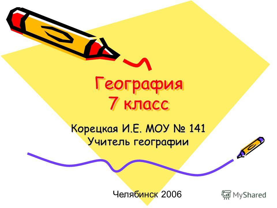 География 7 класс Корецкая И.Е. МОУ 141 Учитель географии Челябинск 2006