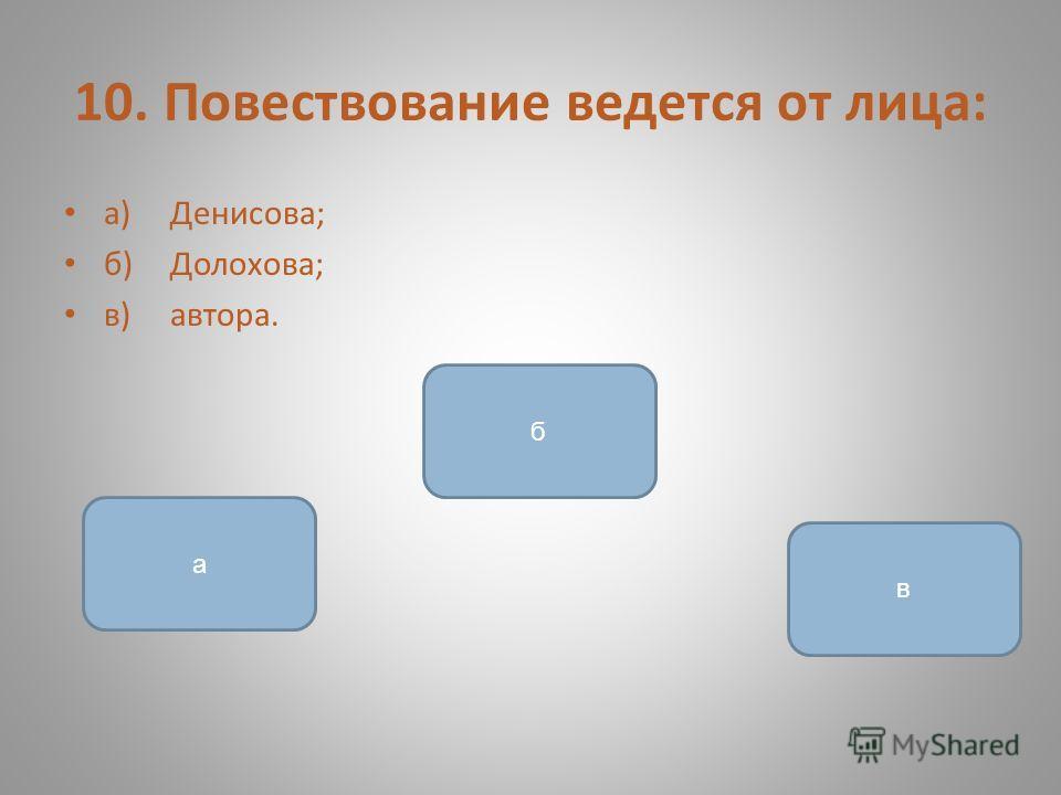 10. Повествование ведется от лица: а)Денисова; б)Долохова; в)автора. в а б