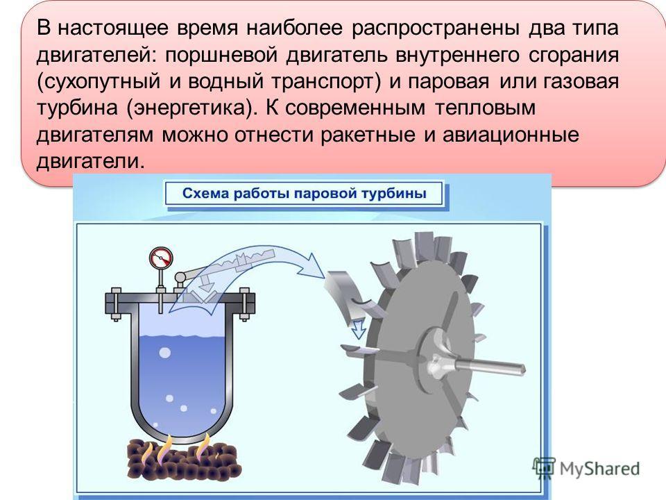 В настоящее время наиболее распространены два типа двигателей: поршневой двигатель внутреннего сгорания (сухопутный и водный транспорт) и паровая или газовая турбина (энергетика). К современным тепловым двигателям можно отнести ракетные и авиационные