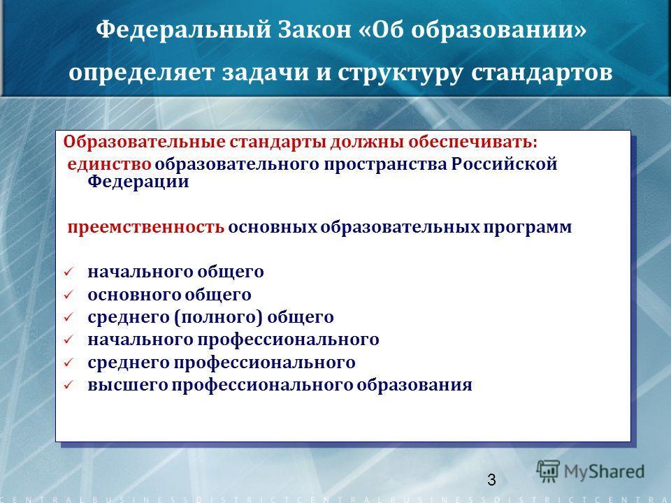 3 Федеральный Закон «Об образовании» определяет задачи и структуру стандартов Образовательные стандарты должны обеспечивать: единство образовательного пространства Российской Федерации преемственность основных образовательных программ начального обще