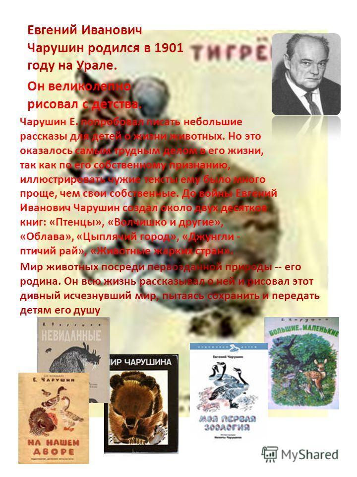 Евгений Иванович Чарушин родился в 1901 году на Урале. Он великолепно рисовал с детства. Чарушин Е. попробовал писать небольшие рассказы для детей о жизни животных. Но это оказалось самым трудным делом в его жизни, так как по его собственному признан