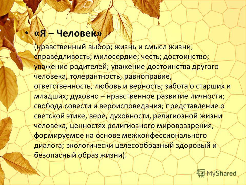 «Я – Человек» (нравственный выбор; жизнь и смысл жизни; справедливость; милосердие; честь; достоинство; уважение родителей; уважение достоинства другого человека, толерантность, равноправие, ответственность, любовь и верность; забота о старших и млад