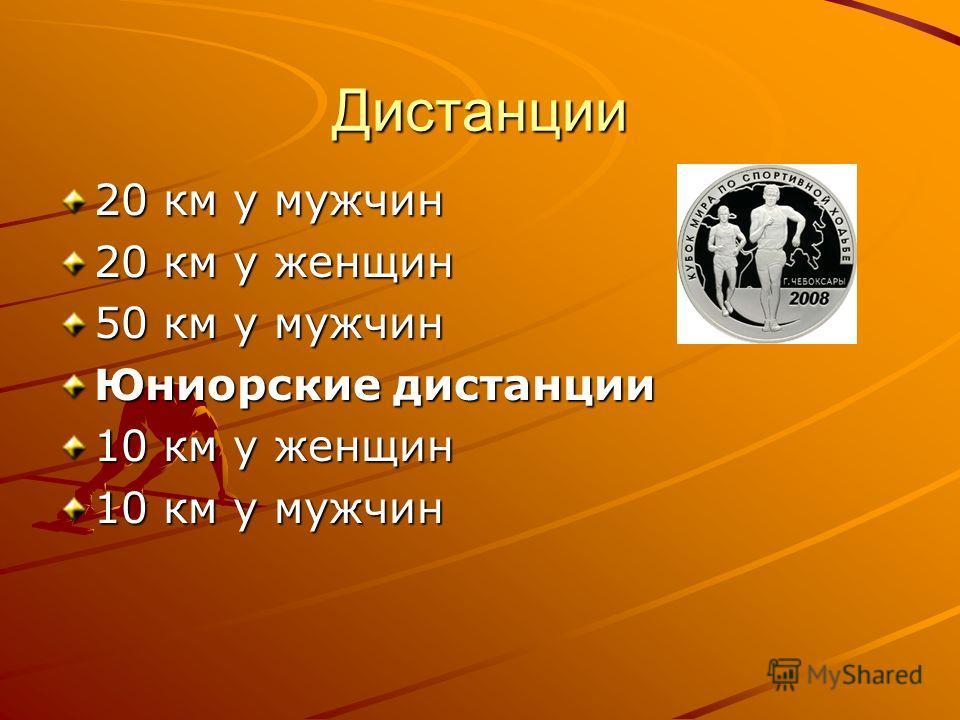 Дистанции 20 км у мужчин 20 км у женщин 50 км у мужчин Юниорские дистанции 10 км у женщин 10 км у мужчин