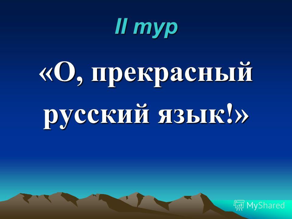 II тур «О, прекрасный русский язык!»