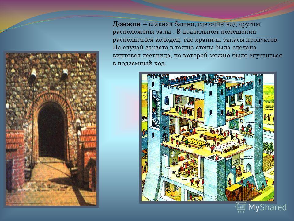 Донжон – главная башня, где один над другим расположены залы. В подвальном помещении располагался колодец, где хранили запасы продуктов. На случай захвата в толще стены была сделана винтовая лестница, по которой можно было спуститься в подземный ход.