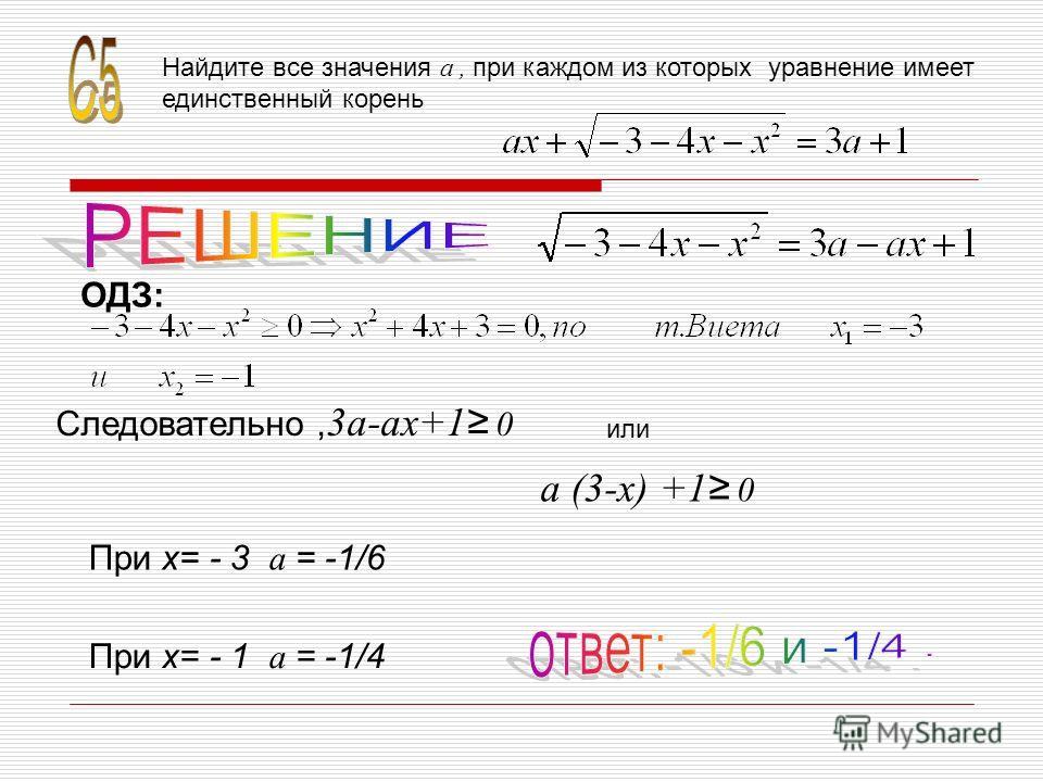 Найдите все значения a, при каждом из которых уравнение имеет единственный корень ОДЗ: Следовательно, 3a-ax+1 0 или a (3-x) +1 0 При х= - 3 a = -1/6 При х= - 1 a = -1/4