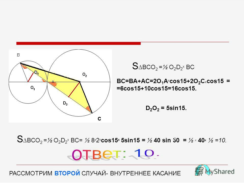 SBCO 2 =½ O 2 D 2 x BC BC=BA+AC=2O 1 A x cos15+2O 2 C x cos15 = =6cos15+10cos15=16cos15. D 2 O 2 = 5sin15. SBCO 2 =½ O 2 D 2 x BC= ½ 8 x 2 x cos15 x 5sin15 = ½ 40 sin 30 = ½ x 40 x ½ =10. РАССМОТРИМ ВТОРОЙ СЛУЧАЙ- ВНУТРЕННЕЕ КАСАНИЕ