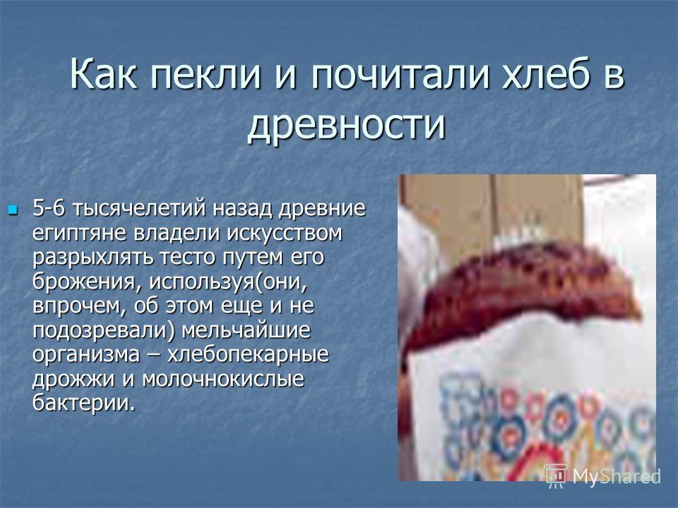 Как пекли и почитали хлеб в древности 5-6 тысячелетий назад древние египтяне владели искусством разрыхлять тесто путем его брожения, используя(они, впрочем, об этом еще и не подозревали) мельчайшие организма – хлебопекарные дрожжи и молочнокислые бак