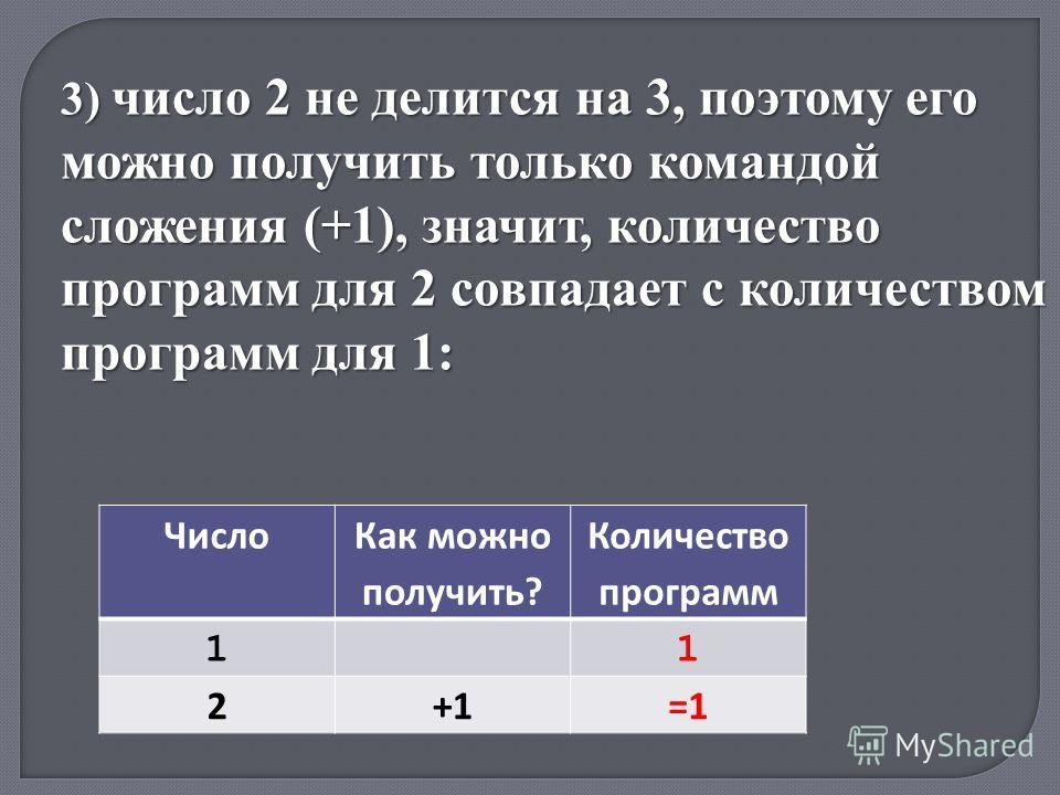 Число Как можно получить? Количество программ 11 2+1=1 3) число 2 не делится на 3, поэтому его можно получить только командой сложения (+1), значит, количество программ для 2 совпадает с количеством программ для 1:
