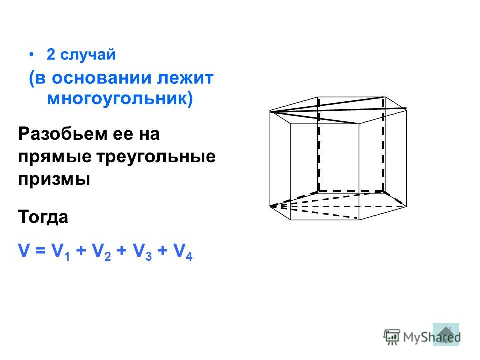 2 случай (в основании лежит многоугольник) Разобьем ее на прямые треугольные призмы Тогда V = V 1 + V 2 + V 3 + V 4