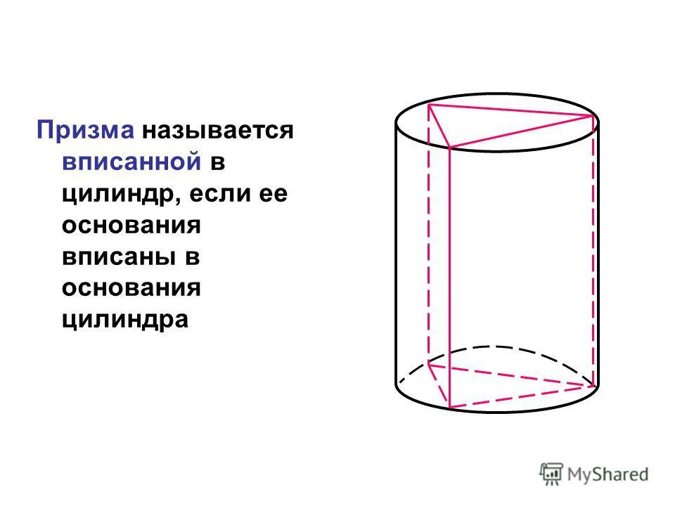 Призма называется вписанной в цилиндр, если ее основания вписаны в основания цилиндра
