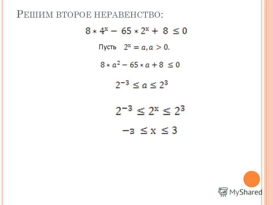 Р ЕШИМ ВТОРОЕ НЕРАВЕНСТВО : Пусть