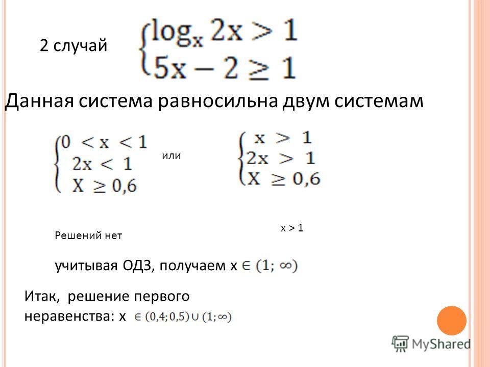 2 случай Данная система равносильна двум системам или Решений нет х > 1 учитывая ОДЗ, получаем х Итак, решение первого неравенства: х