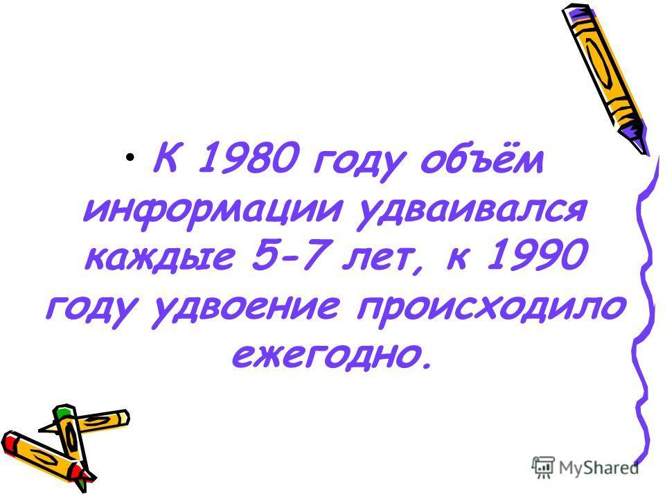 К 1980 году объём информации удваивался каждые 5-7 лет, к 1990 году удвоение происходило ежегодно.
