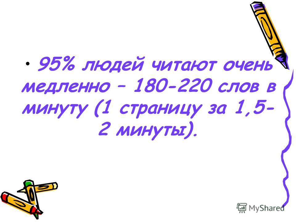 95% людей читают очень медленно – 180-220 слов в минуту (1 страницу за 1,5- 2 минуты).