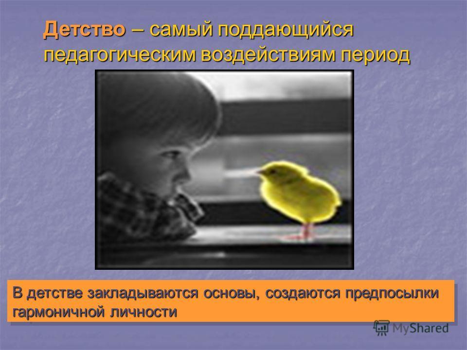 Детство – самый поддающийся педагогическим воздействиям период В детстве закладываются основы, создаются предпосылки гармоничной личности