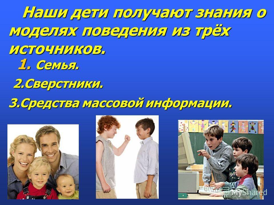 Наши дети получают знания о моделях поведения из трёх источников. Наши дети получают знания о моделях поведения из трёх источников. 1. Семья. 2.Сверстники. 3.Средства массовой информации.