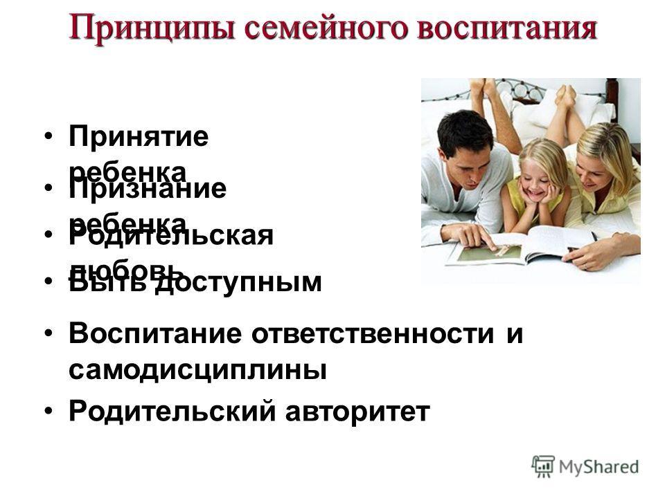 Принципы семейного воспитания Принятие ребенка Признание ребенка Родительская любовь Быть доступным Воспитание ответственности и самодисциплины Родительский авторитет