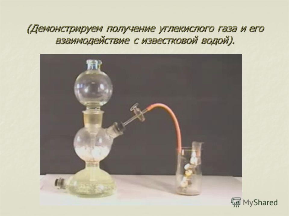 (Демонстрируем получение углекислого газа и его взаимодействие с известковой водой).