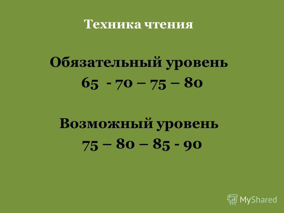 Техника чтения Обязательный уровень 65 - 70 – 75 – 80 Возможный уровень 75 – 80 – 85 - 90