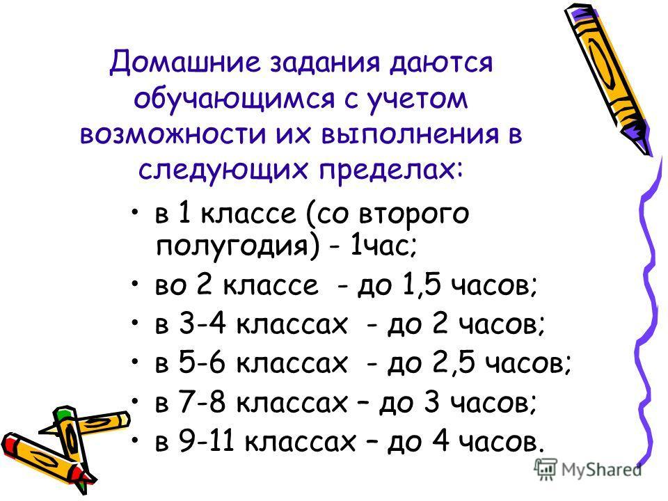 Домашние задания даются обучающимся с учетом возможности их выполнения в следующих пределах: в 1 классе (со второго полугодия) - 1час; во 2 классе - до 1,5 часов; в 3-4 классах - до 2 часов; в 5-6 классах - до 2,5 часов; в 7-8 классах – до 3 часов; в