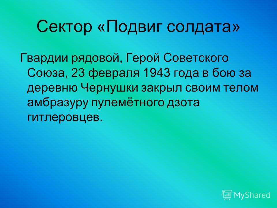 Сектор «Подвиг солдата» Гвардии рядовой, Герой Советского Союза, 23 февраля 1943 года в бою за деревню Чернушки закрыл своим телом амбразуру пулемётного дзота гитлеровцев.