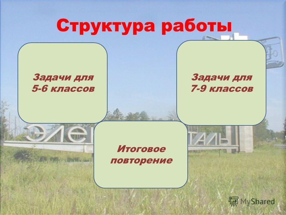 Структура работы Задачи для 5-6 классов Задачи для 7-9 классов Итоговое повторение