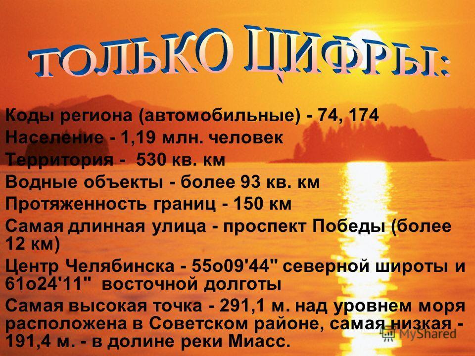 Коды региона (автомобильные) - 74, 174 Население - 1,19 млн. человек Территория - 530 кв. км Водные объекты - более 93 кв. км Протяженность границ - 150 км Самая длинная улица - проспект Победы (более 12 км) Центр Челябинска - 55o09'44