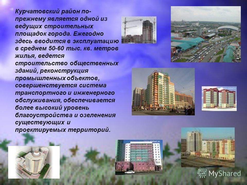 Курчатовский район по- прежнему является одной из ведущих строительных площадок города. Ежегодно здесь вводится в эксплуатацию в среднем 50-60 тыс. кв. метров жилья, ведется строительство общественных зданий, реконструкция промышленных объектов, сове